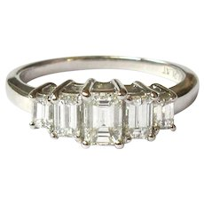 Diamond Platinum Ring, Emerald Cut, Vintage 1 ct.