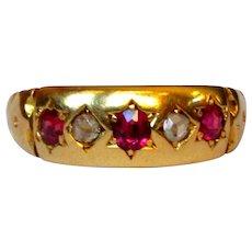 Ruby & Diamond Ring, 18K, Gypsy Star Set, 1927