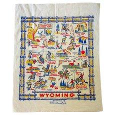 Wyoming Table Cloth, Vintage Souvenir, 1950's