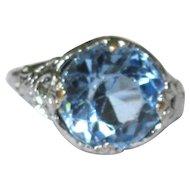 Art Nouveau Ring, Chromium & Large Pale Blue Crystal Stone, Vintage