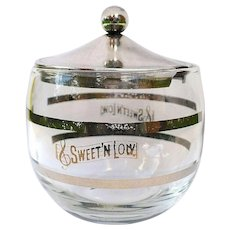 Glass Sugar Bowl, Sweet & Low Vintage Jar