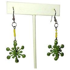 Snowflake Earrings, Vintage Green Sparkle