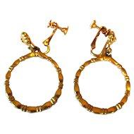 Hoop Earrings, Vintage 1960's Gold Toned