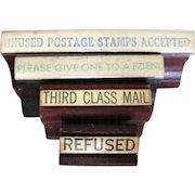 4 Rubber Stamps, Vintage Post Office Memorabilia