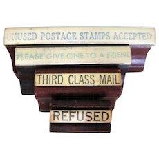 4 Rubber Stamps, Vintage Post Office Memorabilia