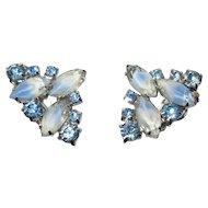 Vintage Blue Rhinestone Earrings, Givre Art Glass
