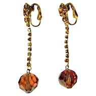 Rhinestone / Crystal Earrings, Vintage 1960's