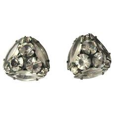 Rhinestone Earrings, Juliana, Vintage Japanned