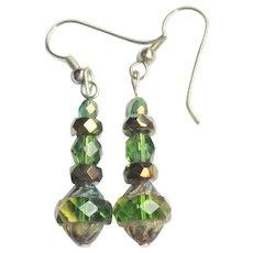 Drop Earrings, Vintage Czech Glass Beads & Swarovski Crystals