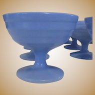 Moderntone Platonite Sherbet Cup, Hazel-Atlas Glass Blue