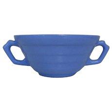 Moderntone Cream Soup Bowls, Blue Double Handled, Blue Platonite