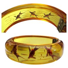 Deco Bakelite Fish Bracelet, Reverse Carved Apple Juice 1930's