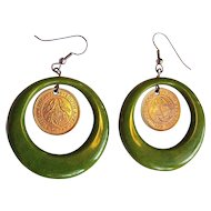 Bakelite Hoop Earrings, Vintage Deco Marbled Green