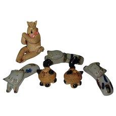 6 Pottery Cats, Vintage Figurals