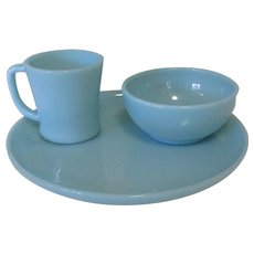 Anchor Hocking Fire King Turquoise Blue Cup, Bowl & Plate