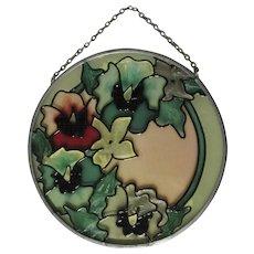 Vintage Sun Catcher, Floral Painted Glass