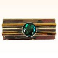 Sterling Bar Pin, Gold Filled, Vintage Art Glass