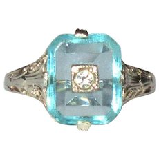 14K WG Filigree Ring, Synthetic Aqua, Art Deco