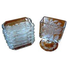 Cigarette Holder & 6 Ashtrays, Vintage Glass