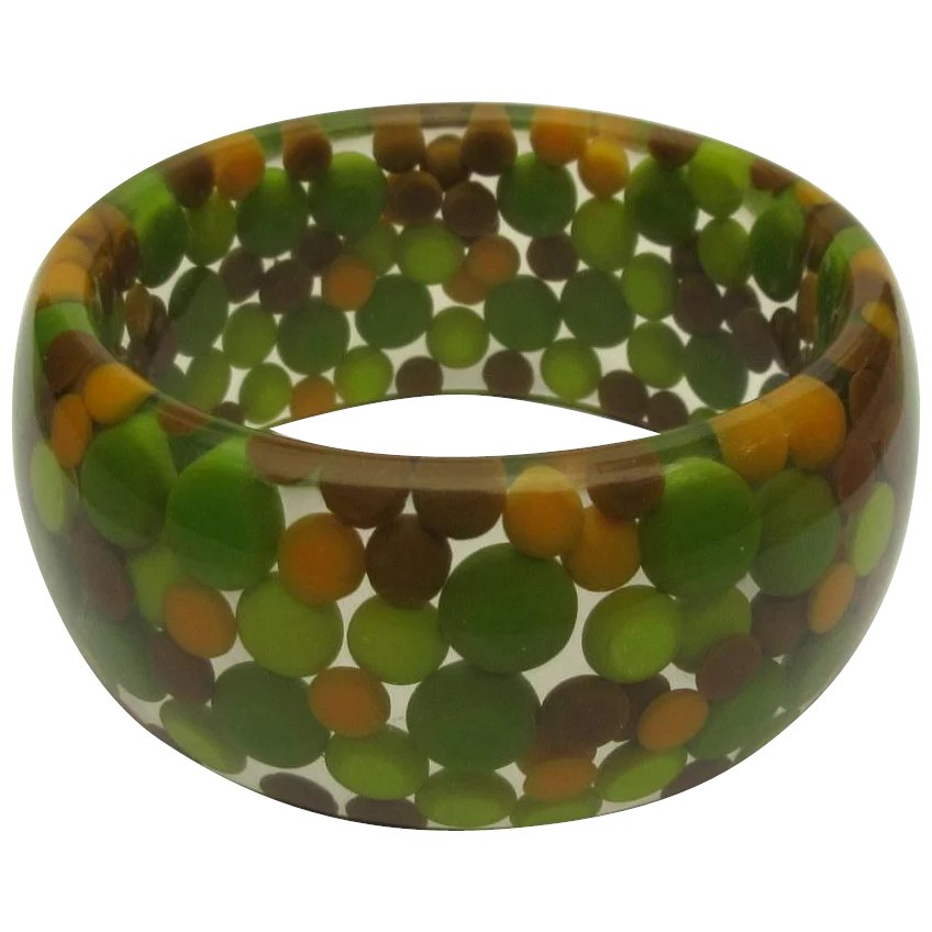 A Special Dot Beauty...A Vintage RED LUCITE with Multi-Size DOTS Bangle Bracelet 34 Wide  circa 1960s