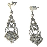 Sterling Marcasite Earrings, Art Deco Filigree 1920's