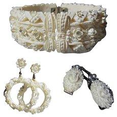 Rhinestone Celluloid Set, Bracelet, Earrings & Sweater Guard