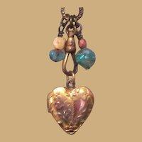 Vintage Heart Locket, Gold Filled & Etched Valentine