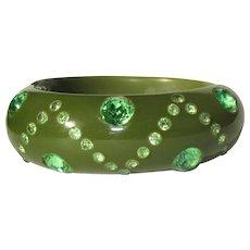 Rhinestone Thermoset Bracelet, Hinged Green Clamper, 1940's