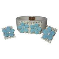 Rhinestone Bracelet & Earrings, Vintage Plastic Clamper