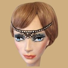 1920's Rhinestone Headband, Authentic Flapper Deco