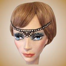 1920's Rhinestone Headband, Authentic Flapper Deco