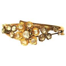 Victorian 14K Rose Gold Bracelet, 5 cts Rose Cut Diamonds
