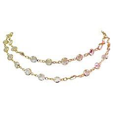 Clear Crystal Necklace, Bezel Set, Equal Sided, Vintage