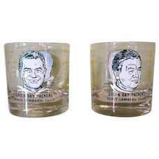 Two Lambeau Lombardi Glasses, Green Bay Packers, 1960's
