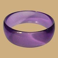Purple Lucite Bracelet, Transparent Bangle, Vintage 60's