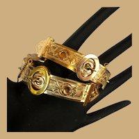 Victorian Wedding Bracelets, Buckle Set, Rolled Gold