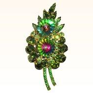 D&E Juliana Watermelon Rivoli Pin / Flower, 1960's
