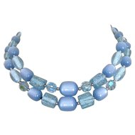 Vintage Necklace, 60's Moonglow, Lucite Glitter & Crystal