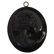 Whitby Jet Cameo Pendant, Victorian Mourning Jewelry