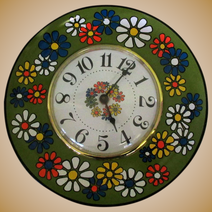 Super Mid Century Wall Clock Kitchen Daisy Plate Spartus Home Interior And Landscaping Synyenasavecom