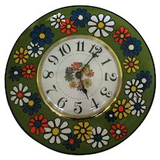 Mid Century Wall Clock, Kitchen Daisy Plate, Spartus