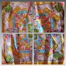 Vintage Silk Scarf San Francisco Memorabilia by Zado