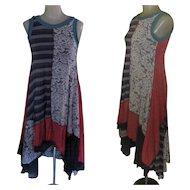 Vintage Dress, Multiple Prints, Festival Grunge
