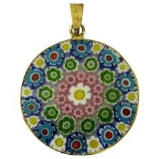 Millefiore Necklace, Vintage Pendant, Sterling & Gold Wash