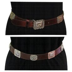 Vintage Leather Belt, Cowboy Concho Style, 1992