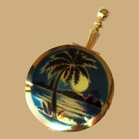 Tropical Pill Box / Compact, Moon Over Miami, Vintage
