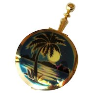 Tropical Pill Box / Compact, Moon Over Miami, Vintage