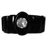 Victorian Whitby Jet Bracelet, Panel & Paste Mourning Jewelry