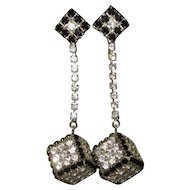 Vintage Rhinestone Earrings, Drop Cubes, 1960's