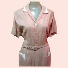50's Silk Dress, Vintage Dressy Office, M / L
